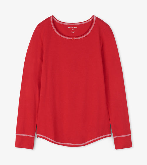 Hatley Little Blue House Holiday Red Jersey Pyjama Top - Women