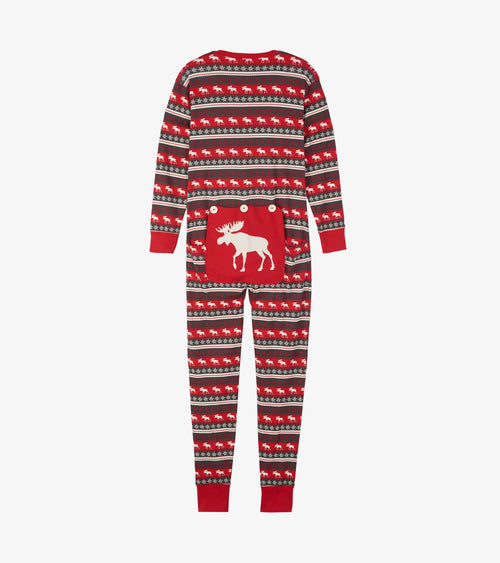 Hatley Little Blue House Fair Isle Moose Union Suits - Adults