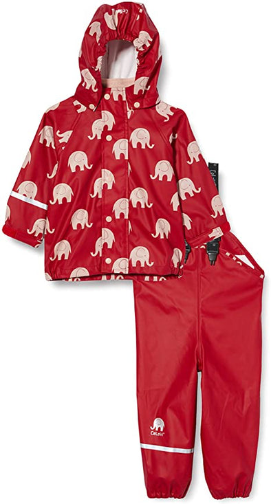 Celavi Elephants Rio Red Waterproof Rainwear Set