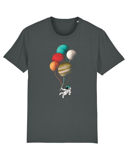 Wat? Apparel Men's Balloon Astronaut T-Shirt Anthracite