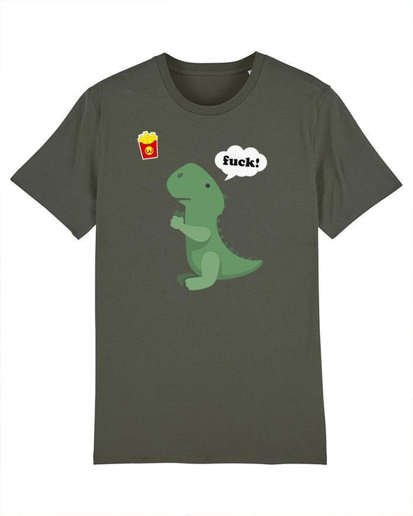Wat? Apparel Men's T-Rex with Chips T-Shirt Khaki