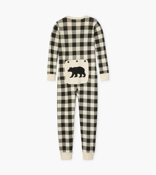 Hatley Little Blue House Cream Plaid Union Suit