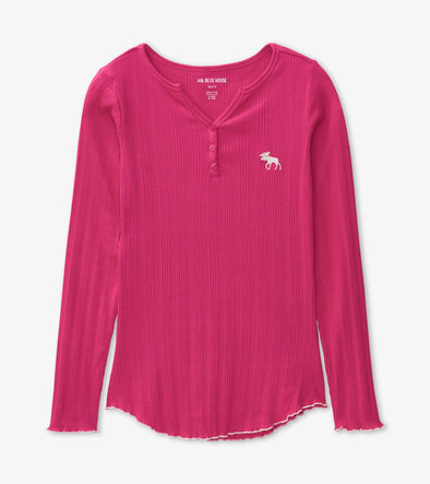 Hatley Little Blue House Women's Pink Rib Long Sleeved Henley