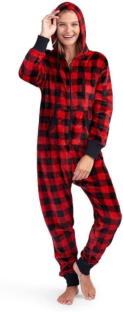 Hatley Buffalo Plaid Fleece Jumpsuits - Adult