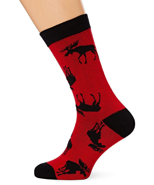 Hatley Little Blue House Moose On Red Men's Socks