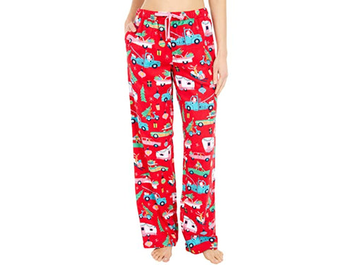 Hatley Little Blue House Women's Flannel Red Retro Christmas Pyjama Bottoms