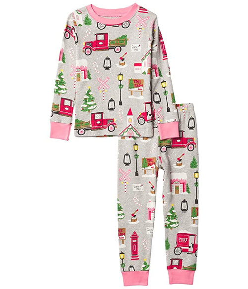 Hatley Little Blue House Pink Christmas Village Pyjamas