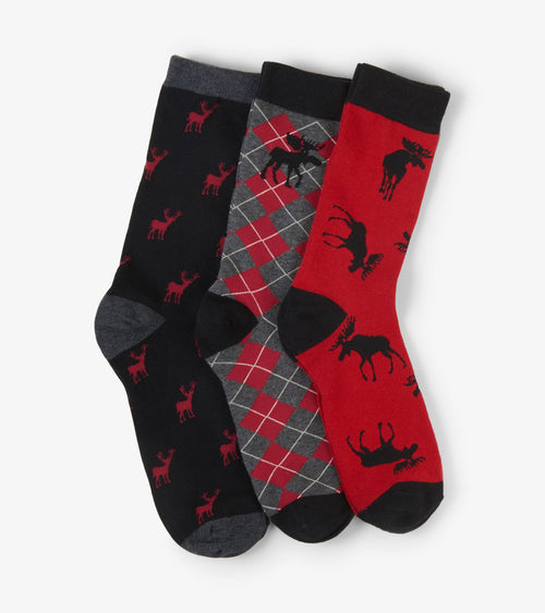 Hatley Little Blue House Moose on Red Men's Crew Socks Gift Set