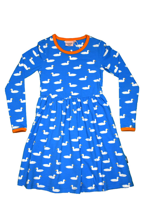 Moromini Duck Pond Blue Long Sleeved Twirly Dress