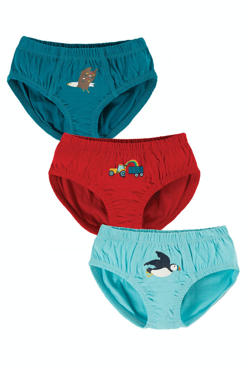 Frugi Tractor Barney Brief Shorts Multipack