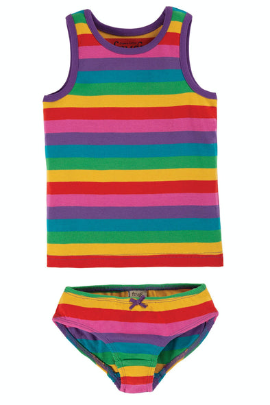 Frugi Foxglove Rainbow Stripe Vest & Brief 2 Pack