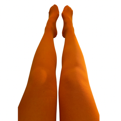 Slugs and Snails Adult Block Colour Tights - Sunrise Orange