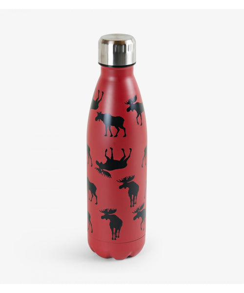 Hatley Little Blue House Moose on Red Insulated Bottle