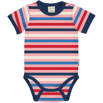 Maxomorra Blossom Stripe Short Sleeved Bodysuit