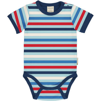 Maxomorra Ice Stripe Short Sleeved Bodysuit