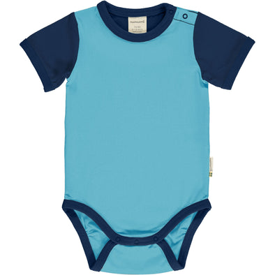 Maxomorra Navy/Sky Block Short Sleeved Bodysuit