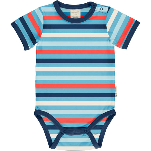 Maxomorra Sky Stripe Short Sleeved Bodysuit