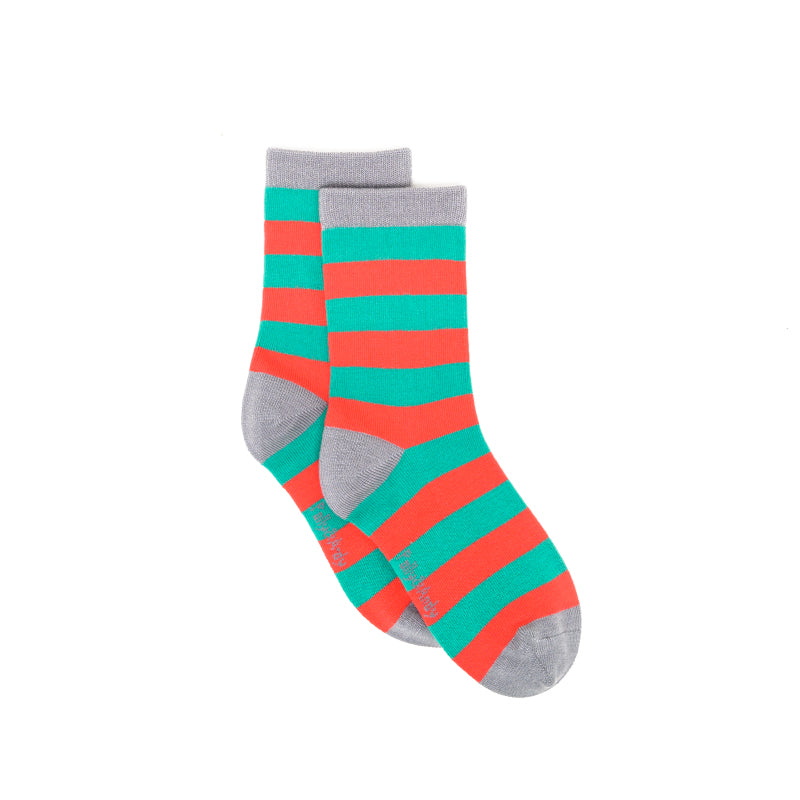 Polly & Andy Bamboo Seam Free Green and Red Stripe Socks