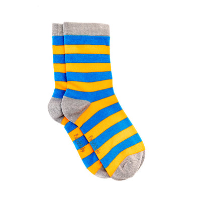 Polly & Andy Bamboo Seam Free Blue and Orange Striped Socks- Adult Sizes