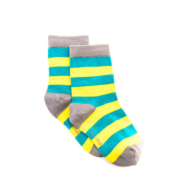 Polly & Andy Bamboo Seam Free Green and Yellow Stripe Socks