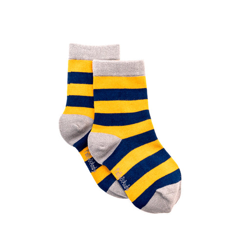 Polly & Andy Bamboo Seam Free Mustard and Navy Stripe Socks