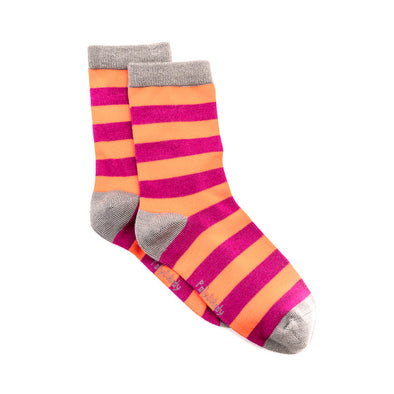 Polly & Andy Bamboo Seam Free Pink Purple Striped Socks- Adult Sizes