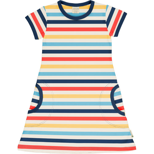Maxomorra Milk Stripe Short Sleeved Dress
