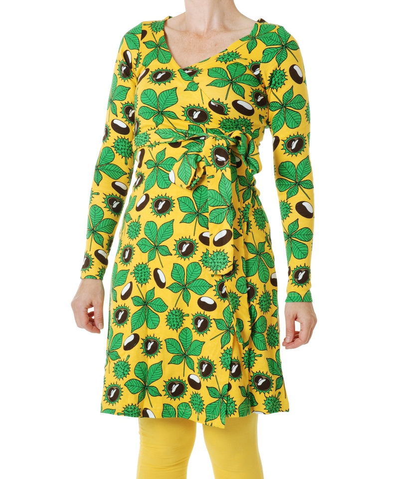 DUNS Daffodil Yellow Chestnut Long Sleeved Wrap Dress