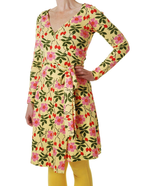 DUNS Rosehip Yellow Long Sleeved Wrap Dress