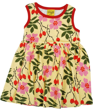 DUNS Rosehip Yellow Sleeveless Dress With Gathered Skirt