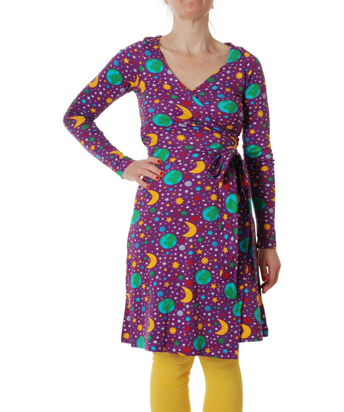DUNS Mother Earth Bright Violet Long Sleeved Wrap Dress