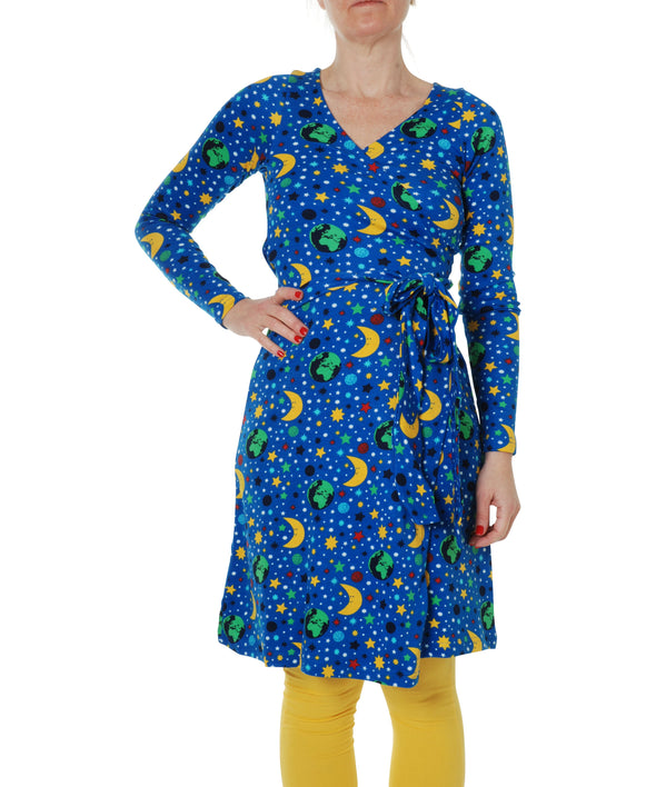 DUNS Mother Earth Blue Long Sleeved Wrap Dress