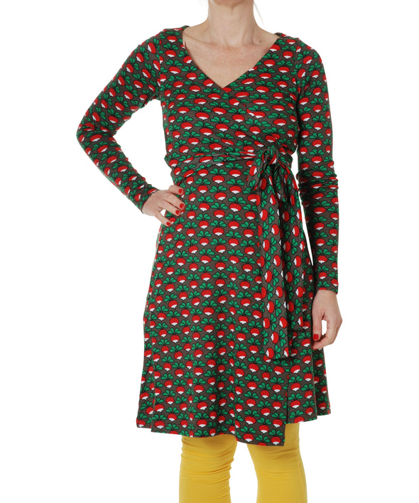 DUNS Radish Black Long Sleeved Wrap Dress