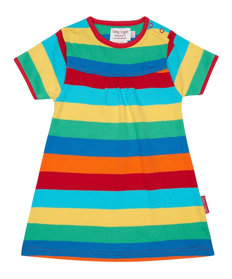 Toby Tiger Multi Stripe Short Sleeved T-shirt Dress