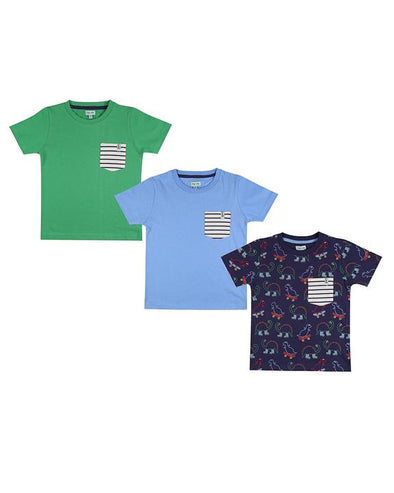 Lilly And Sid Green Blue Dino 3-Pack T-Shirts