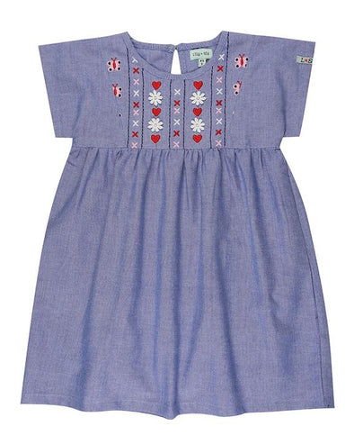 Lilly And Sid Chambray Embroidered Yoke Dress