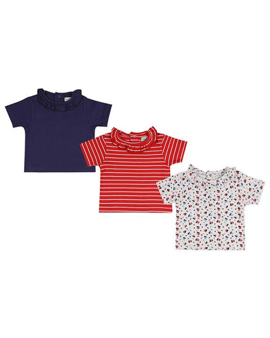Lilly And Sid Red Floral Navy 3-Pack Frill Neck Tops