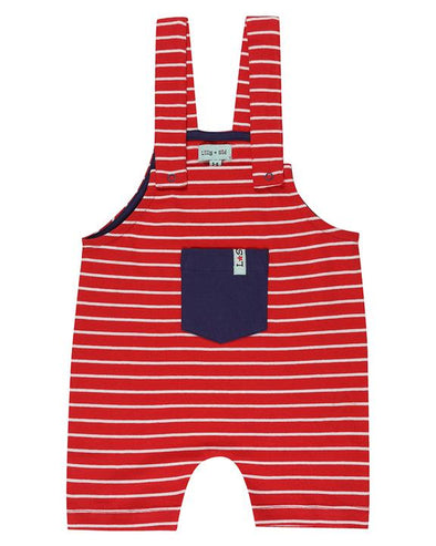 Lilly and Sid Red Stripe Short Dungarees