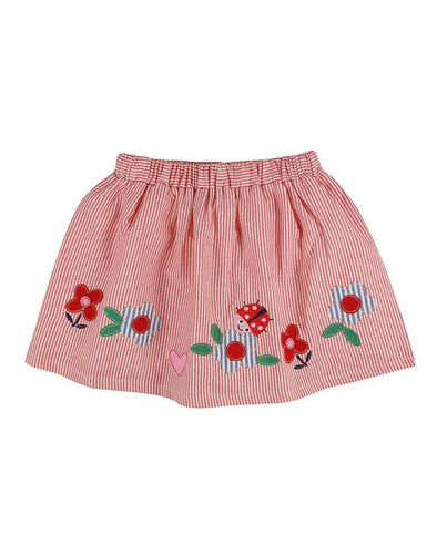 Lilly And Sid Red Stripe Appliqué Hem Skirt