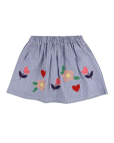 Lilly And Sid Blue Stripe Appliqué Hem Skirt