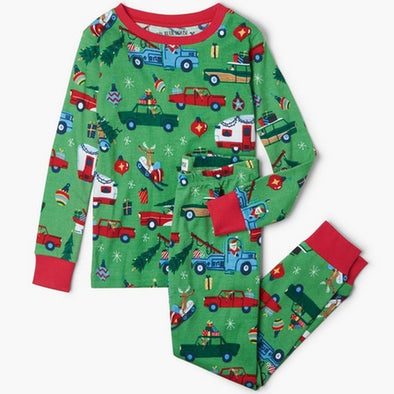 Hatley Little Blue House Green Retro Chrismas Pyjamas