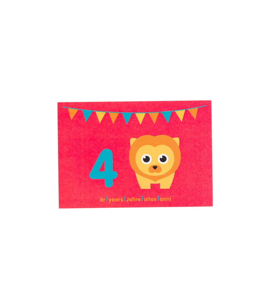 Maxomorra Lion Birthday Card Age 4