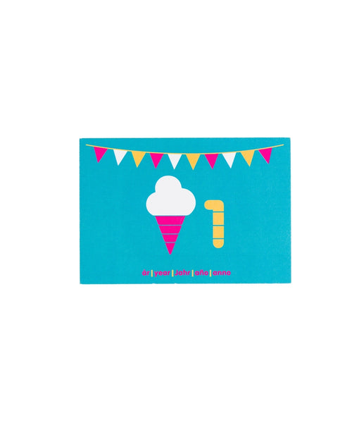 Maxomorra Ice Cream Birthday Card Age 1