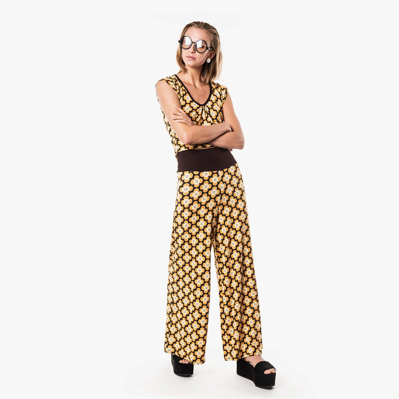 Moshiki Yellow Retro Wide Leg Trousers T-101-11