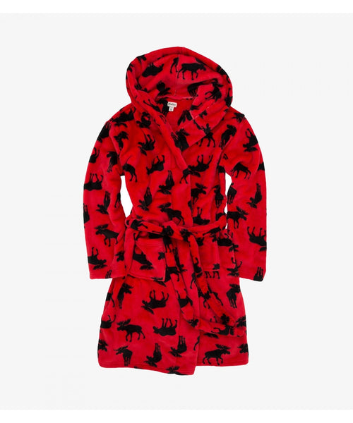 Hatley Little Blue House Moose on Red Fleece Robe - Adult