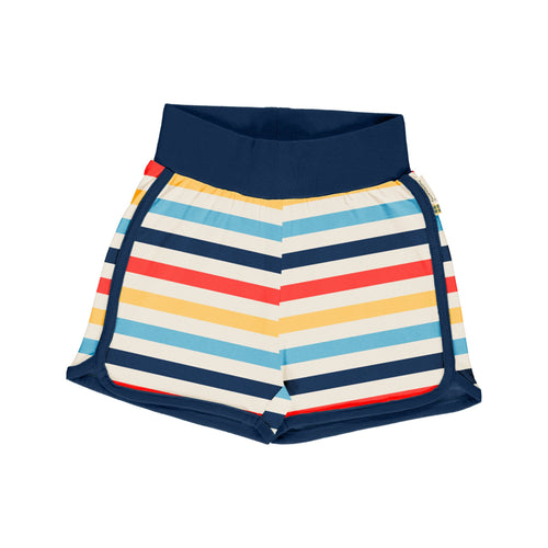 Maxomorra Milk Stripe Runner Shorts