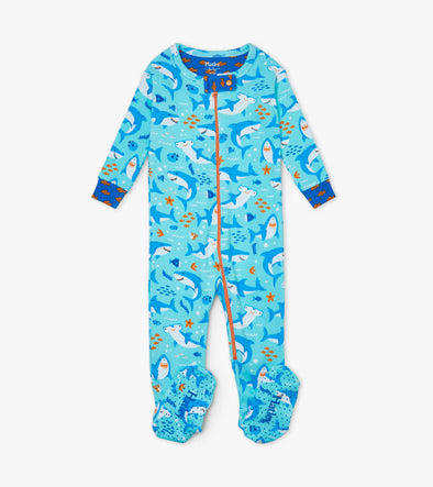 Hatley Shark Party Organic Cotton Footed Coverall