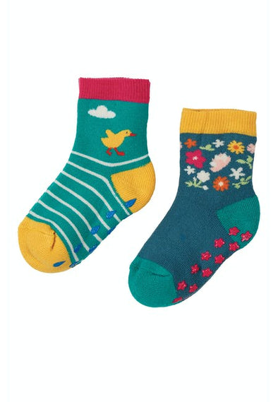 Frugi Duck 2 Pack Grippy Socks