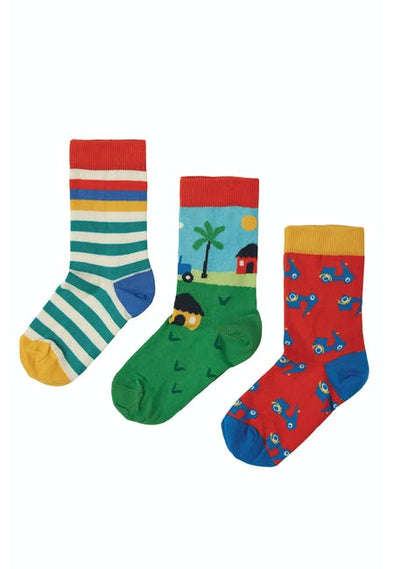 Frugi Tractor Rock My Socks 3 Pack