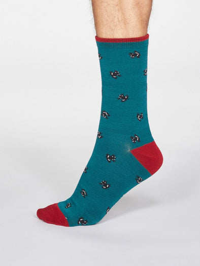 Thought Men's Wesley Frog Socks - Teal Green